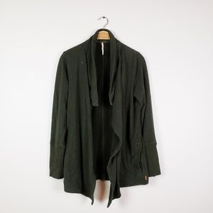 Lucy • Dark Olive Green Waterfall Front Cardigan